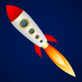 在深蓝背景的火箭队 动画片样式 蓝色云彩图象彩虹天空向量 免版税库存图片