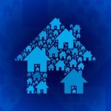 在深蓝背景的蓝色家庭标志 免版税图库摄影