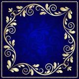在深蓝背景的豪华金样式框架 皇族释放例证