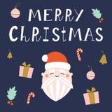 在深蓝背景的逗人喜爱的圣诞老人项目 免版税库存照片