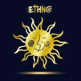 在深蓝背景的金黄种族标志 太阳和月亮 剪影样式传染媒介例证 免版税库存照片