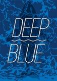 在深蓝色海洋海报的大鲸鱼游泳 库存图片