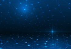 在深蓝颜色背景的抽象分子结构 免版税库存照片
