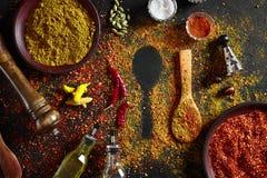在深黑色背景的被分类的香料 食物的调味料 咖喱,辣椒粉,胡椒,豆蔻果实,姜黄 顶视图 库存图片