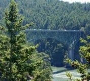 在混乱的水的桥梁 图库摄影