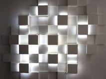 在混凝土墙上的抽象立方体 库存照片