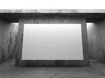 在混凝土墙上的空白的白色横幅广告牌 建筑学方式 图库摄影