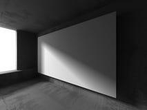 在混凝土墙上的空白的白色横幅广告牌 建筑学方式 库存图片