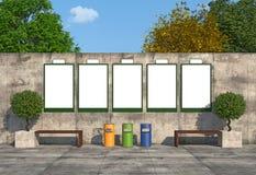 在混凝土墙上的空白的街道广告牌 免版税库存照片