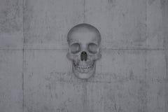 在混凝土墙壁上的头骨  库存图片