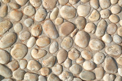 在混凝土墙,织地不很细墙壁背景上的白色石头 免版税库存图片