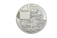 在清楚的白色背景的发光的Bitcoin硬币 免版税库存照片