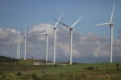 在清楚的蓝天,可更新的电能量,在绿色领域, e的能承受的保护力量发展概念的风轮机 免版税库存照片