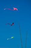 在清楚的蓝天,泰国的五颜六色的泰国风筝 免版税库存照片