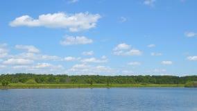 在清楚的蓝色湖上的天空蔚蓝 影视素材