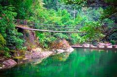 在清楚的水的桥梁 免版税库存图片