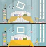 在清洁前后的卧室 肮脏的室内部与疏散家具和项目 与床的卧室内部, 皇族释放例证