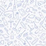 在清洁和家庭设备和清洁产品,在干净的wr的蓝色等高象题材的无缝的例证  库存例证