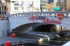 在清溪川的圣诞节装饰 库存照片