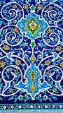 在清真寺墙壁上的传统乌兹别克人样式  图库摄影