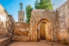 在清真寺废墟古老Chellah的在拉巴特附近,摩洛哥 免版税库存照片