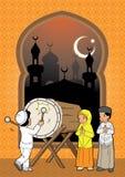 在清真寺的回教孩子 皇族释放例证