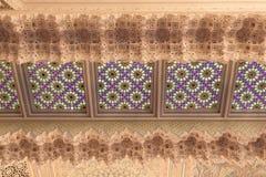在清真寺里面的东方装饰 库存照片