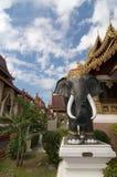 在清迈的Wat Saen Muang Ma Luang的黑大象雕象 免版税库存图片