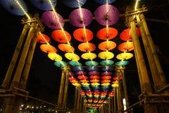 在清迈花节日的伞装饰,泰国 免版税库存照片
