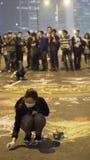 在清除前的夜在伞革命-海军部,香港 免版税库存图片