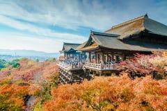 在清水寺寺庙京都,日本的美好的建筑学 免版税库存图片