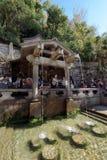 在清水寺的Otowa瀑布,京都 免版税图库摄影