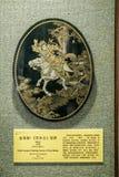 在清代期间的潮州地区与可贵的木材制造业亮漆绘画,字符内容是Mulan a 免版税库存图片