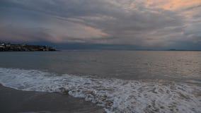 在渔村的五颜六色的日落在Ravda,保加利亚附近 在黑海海岸的海日落 股票视频