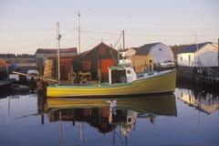 在渔村,哈利法克斯,新斯科舍,加拿大的日出 库存照片