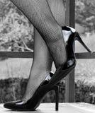 在渔网长袜的性感的腿 免版税库存照片