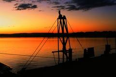 在渡轮的日出在圣弗朗西斯科河 库存照片