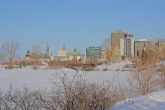 在渥太华的看法从Sjam冬天供徒步旅行的小道的沿渥太华河 免版税库存照片