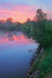 在温暖桃红色波兰河的天空的narew 免版税库存图片