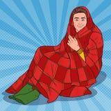 在温暖的毯子盖的流行艺术人 人感觉的寒冷在家 向量例证