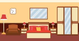 在温暖的颜色的卧室内部与家具 向量例证