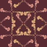 在温暖的颜色的装饰印刷品 在darck褐色bacground的无缝的传染媒介样式 免版税库存图片
