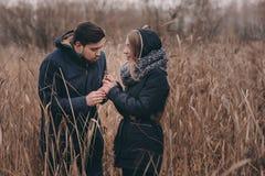 在温暖被编织的帽子和围巾走的愉快的夫妇室外在秋天森林里 库存照片