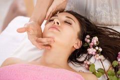 在温泉沙龙的面部秀丽治疗 身体和护肤 免版税图库摄影