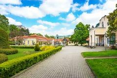 在温泉海岛上的历史大厦在Piestany斯洛伐克 库存图片