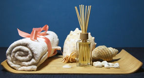 在温泉的芳香疗法与桃红色毛巾和壳 免版税库存图片