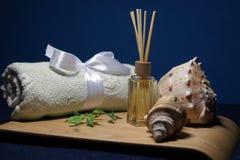 在温泉的芳香疗法与毛巾、绿色叶子和壳 免版税图库摄影