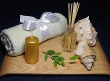 在温泉的芳香疗法与毛巾、绿色叶子和壳 免版税库存图片