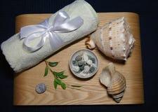 在温泉的芳香疗法与轻的毛巾和壳 免版税库存照片