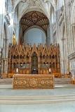 在温彻斯特大教堂里面的唱诗班 库存图片